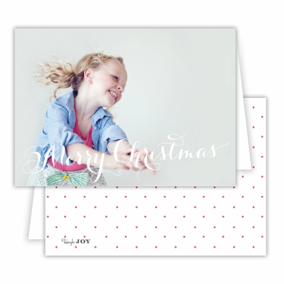 Merry Christmas Folded Photocard with Swiss Dot Hot Pink Back