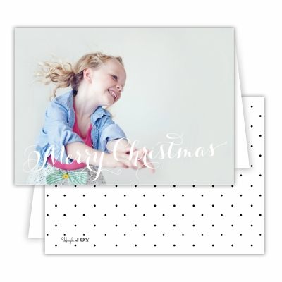 Merry Christmas Folded Photocard with Swiss Dot Black Back