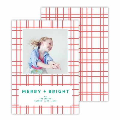 Plaid Coral Photocard