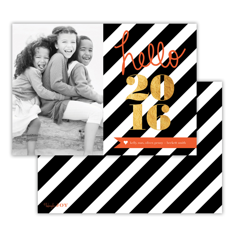 Bold Stripes Black with Foil New Years Photocard