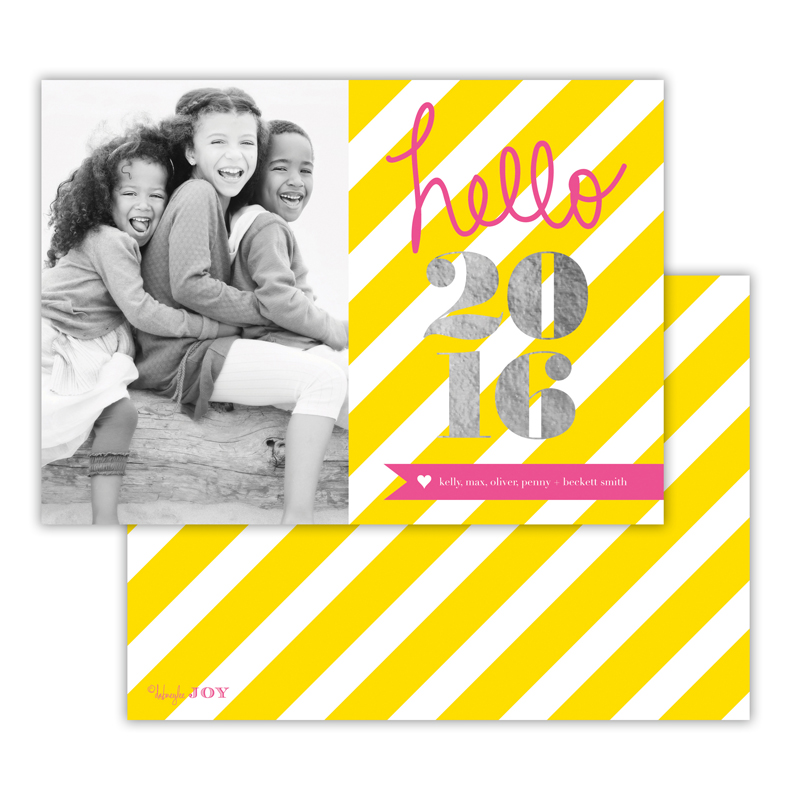 Bold Stripes Sunshine with Foil New Years Photocard