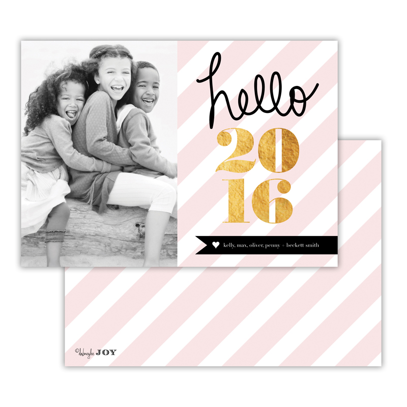 Bold Stripes Ballet with Foil New Years Photocard