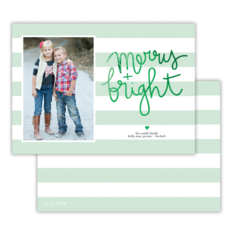 Beach Club Mint with Foil Christmas Photocard