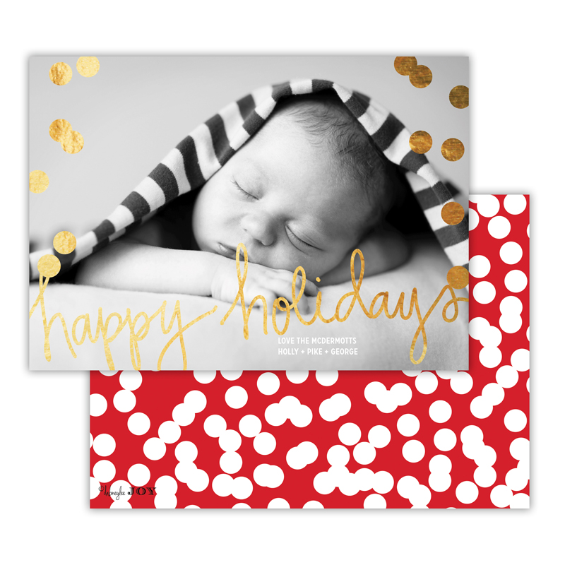 Holepunch Red with Foil Happy Holidays Photocard