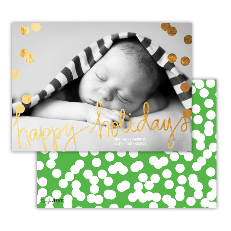 Holepunch Grass with Foil Happy Holidays Photocard