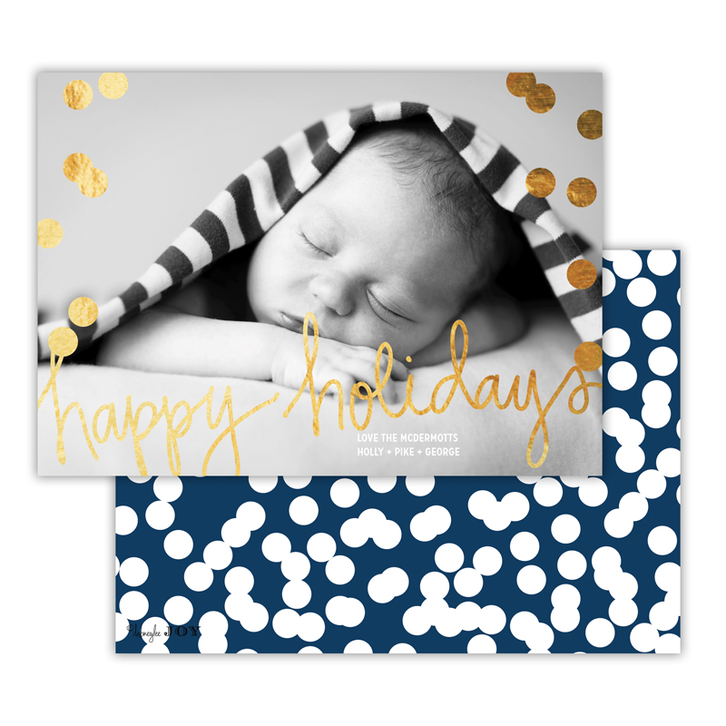Holepunch Navy with Foil Happy Holidays Photocard
