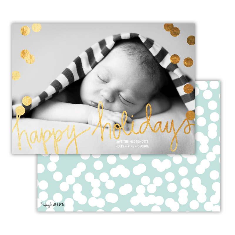 Holepunch Sea with Foil Happy Holidays Photocard