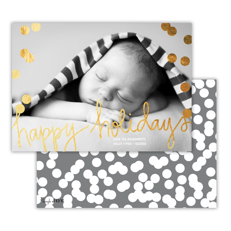 Holepunch Dark Grey with Foil Happy Holidays Photocard