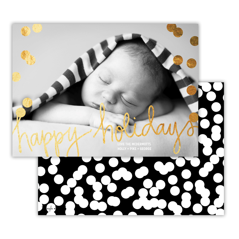 Holepunch Black with Foil Happy Holidays Photocard