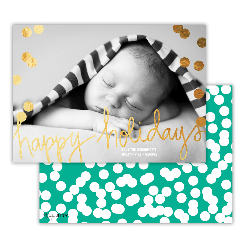 Holepunch Jewel with Foil Happy Holidays Photocard
