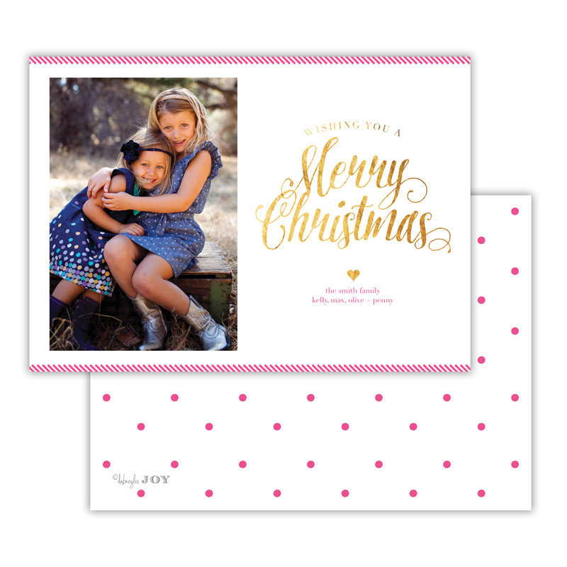 Ticking Hot Pink with Foil Merry Christmas Photocard