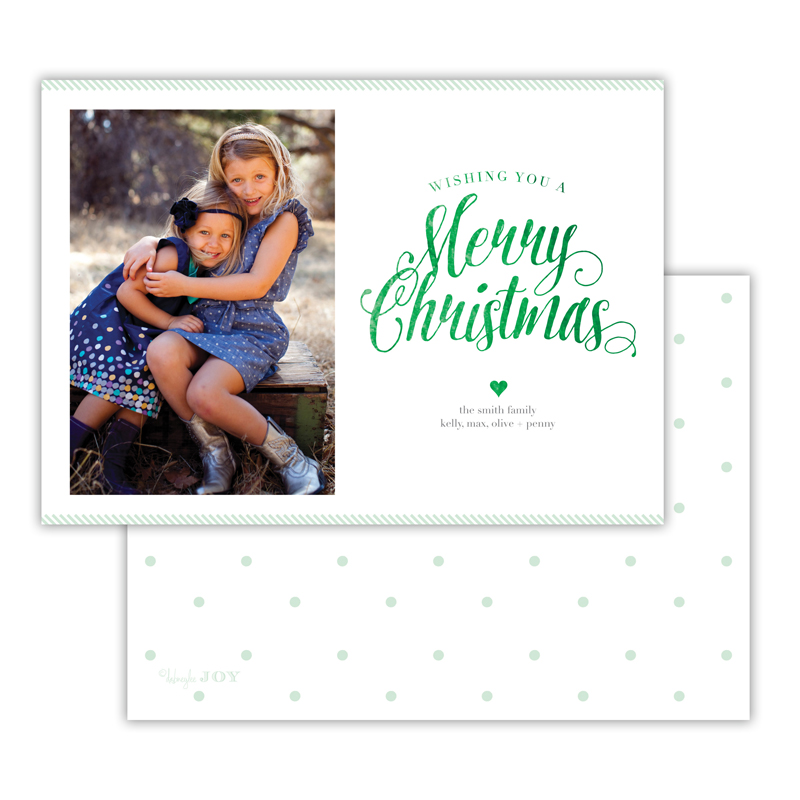 Ticking Mint with Foil Merry Christmas Photocard