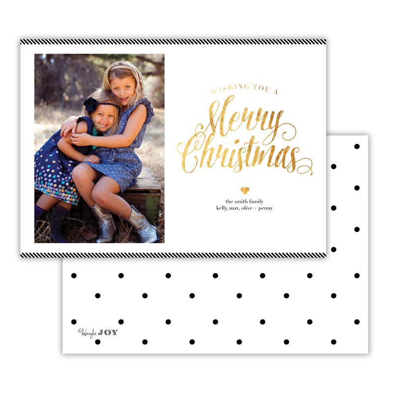 Ticking Black with Foil Merry Christmas Photocard