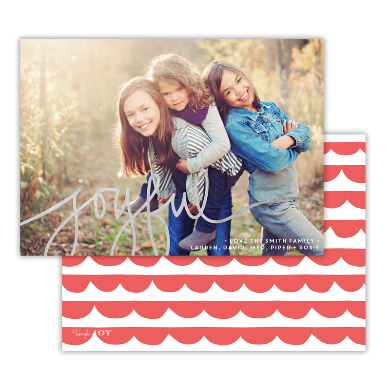 Simple Joys Coral with Foil Joyful Photocard