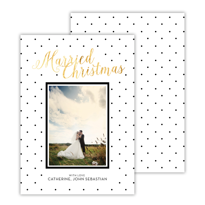 Married Black with Foil Merry Christmas Photocard
