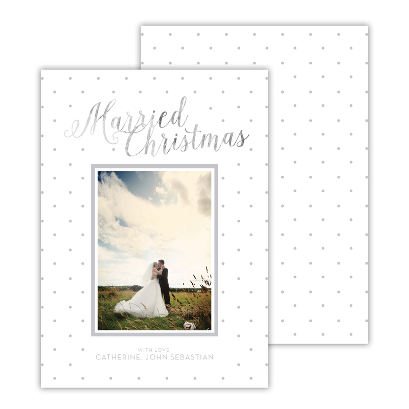 Married Light Grey with Foil Merry Christmas Photocard