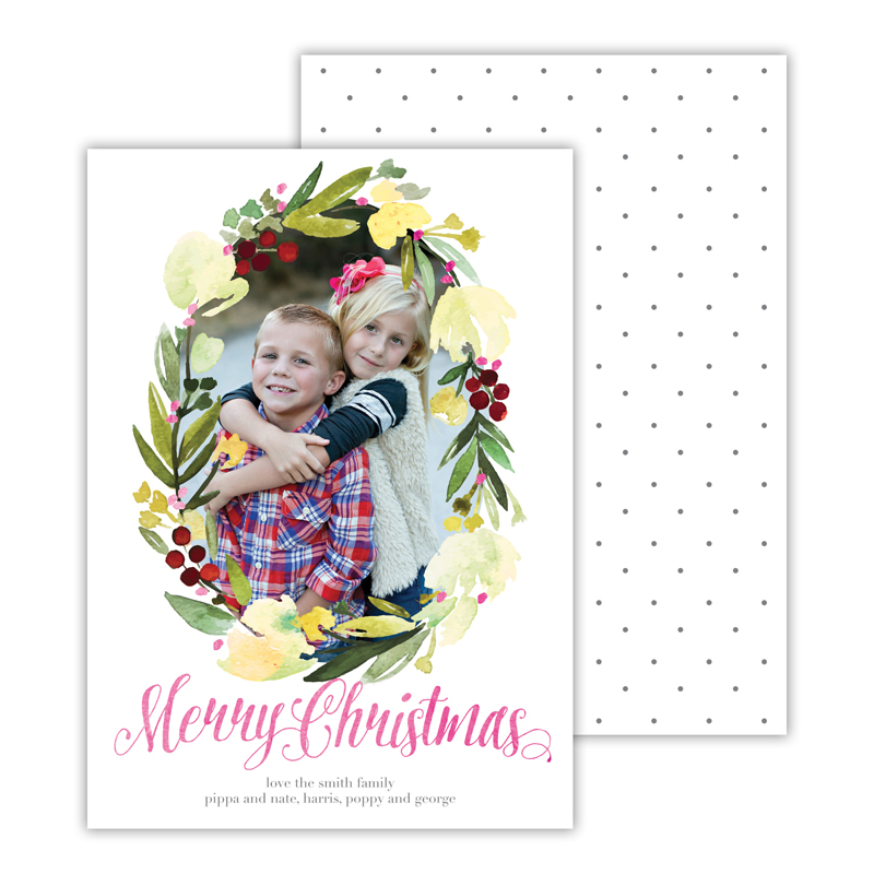 Floral Wreath Dark Grey with Foil Merry Christmas Photocard