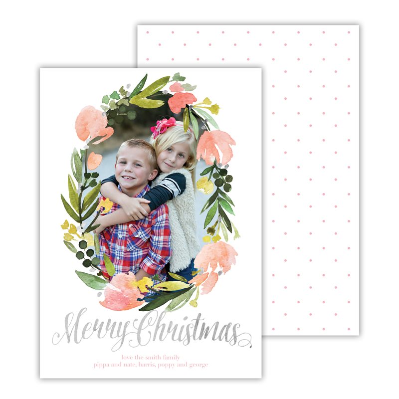 Floral Wreath Ballet with Foil Merry Christmas Photocard
