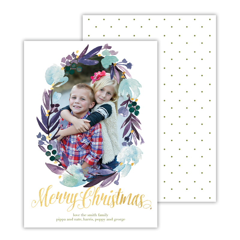 Floral Wreath Moss with Foil Merry Christmas Photocard