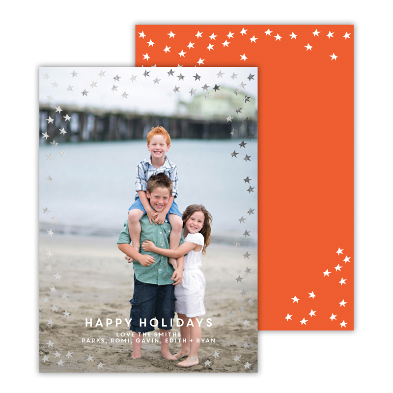Starlight Warm Red with Foil Happy Holidays Photocard