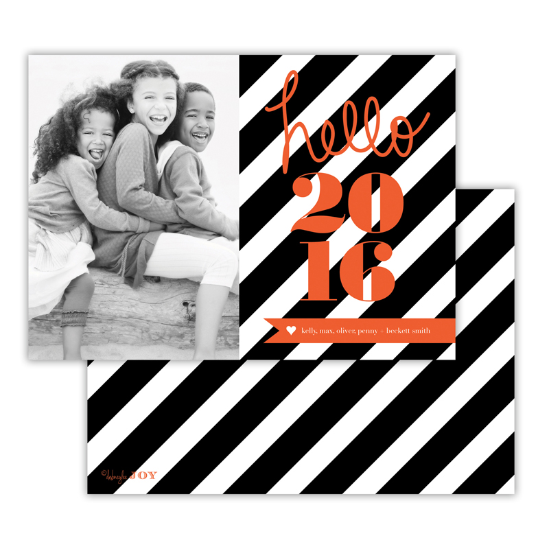 Bold Stripes Black New Years Photocard