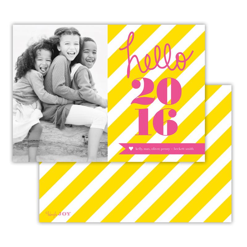 Bold Stripes Sunshine New Years Photocard