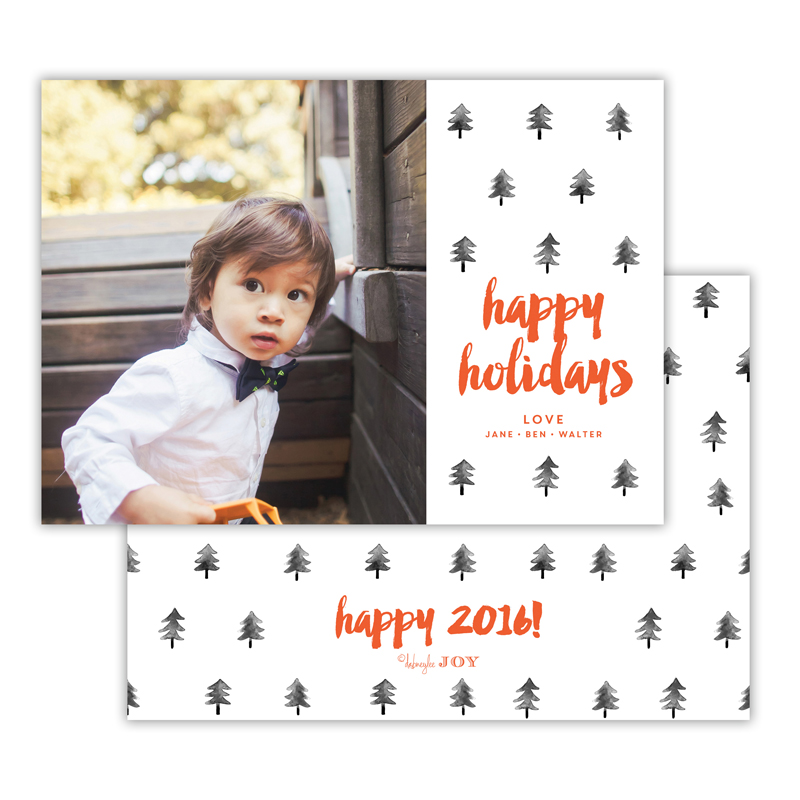Trees Warm Red Happy Holidays Photocard