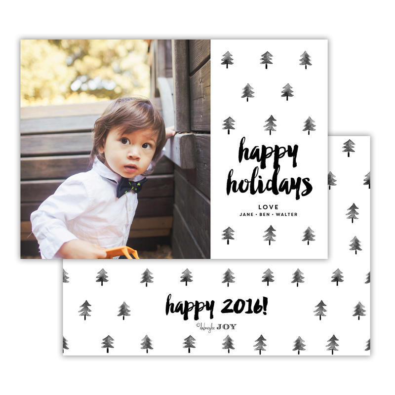 Trees Black Happy Holidays Photocard