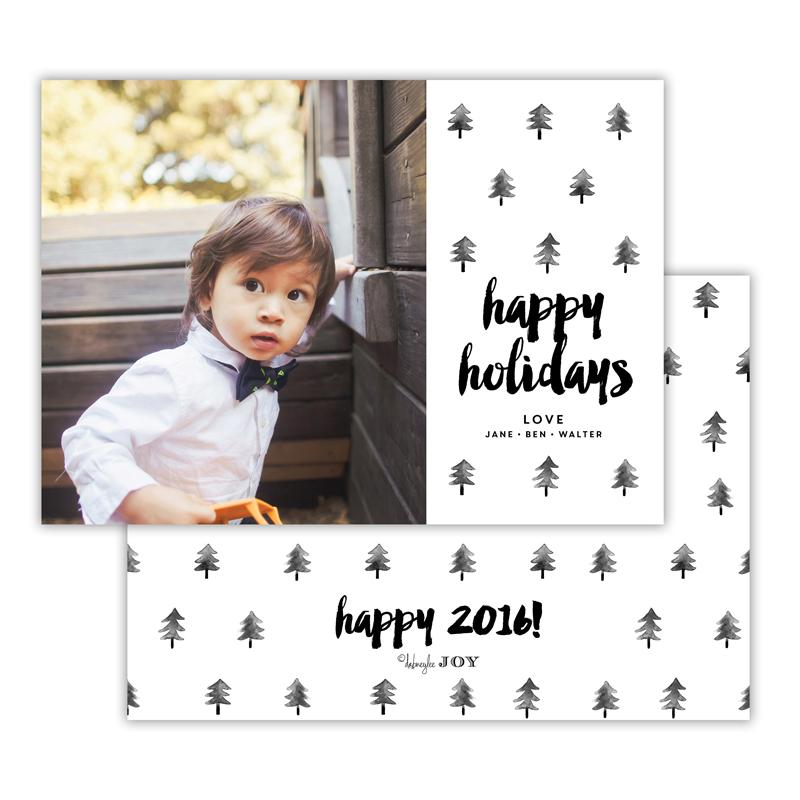 Trees Black Happy Holidays Photocard
