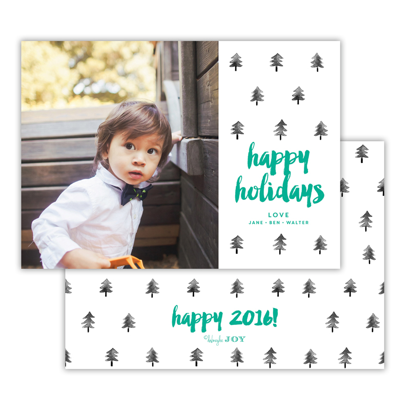 Trees Jewel Happy Holidays Photocard