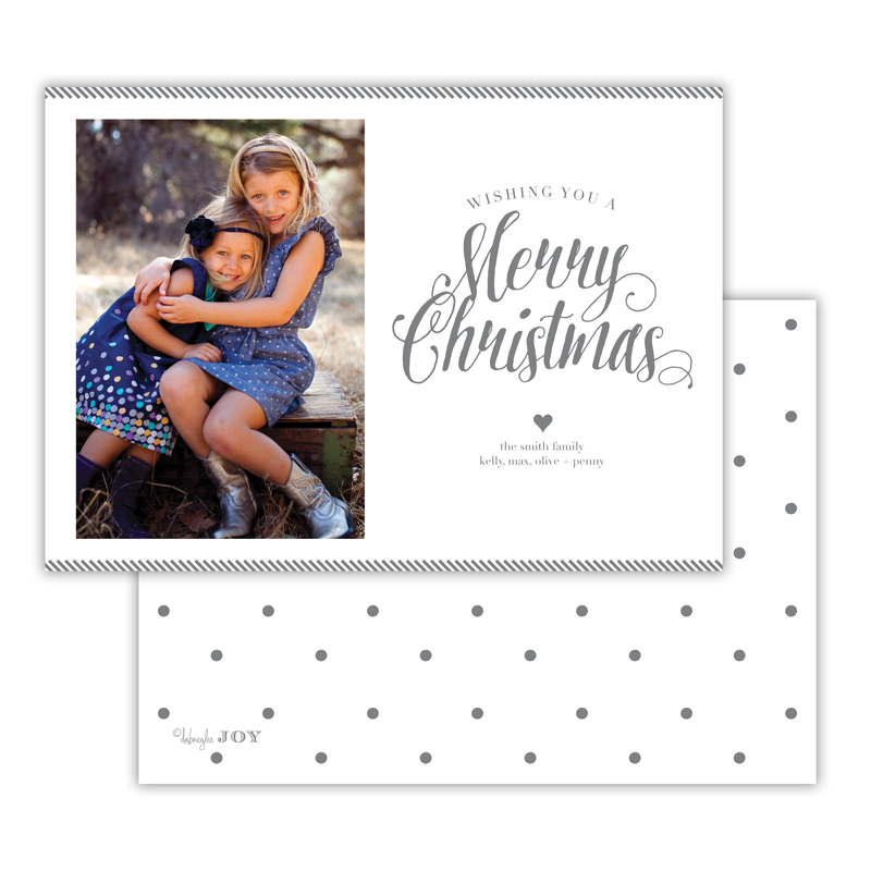 Ticking Dark Grey Merry Christmas Photocard