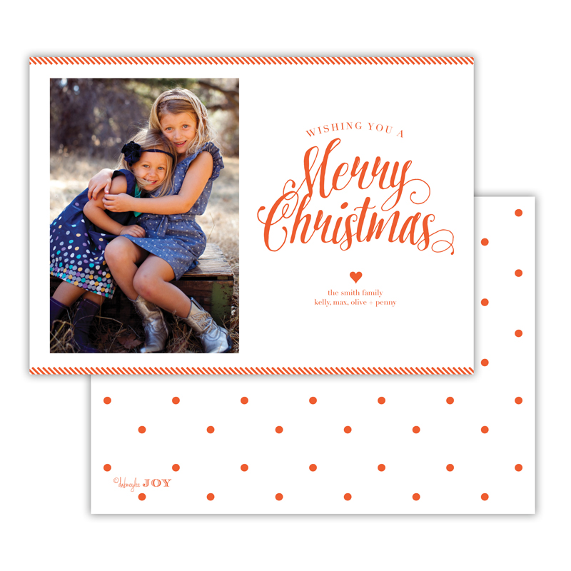 Ticking Warm Red Merry Christmas Photocard