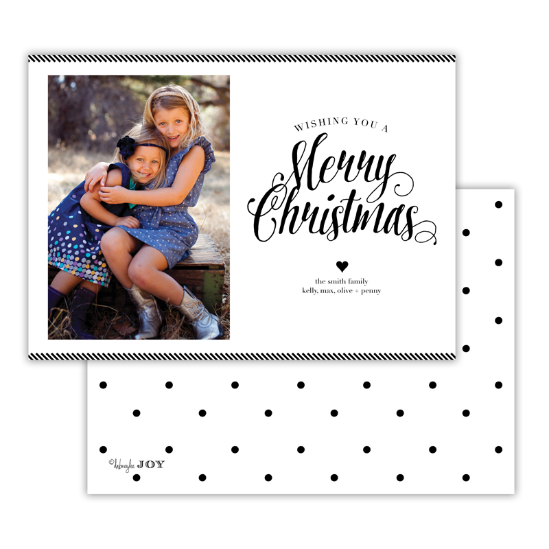 Ticking Black Merry Christmas Photocard