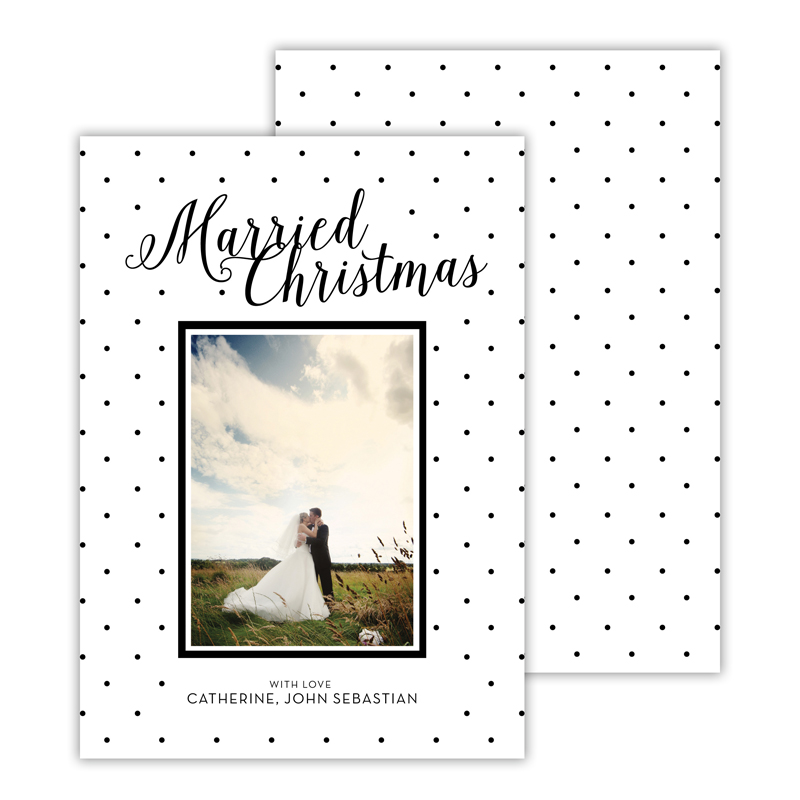 Married Black Merry Christmas Photocard