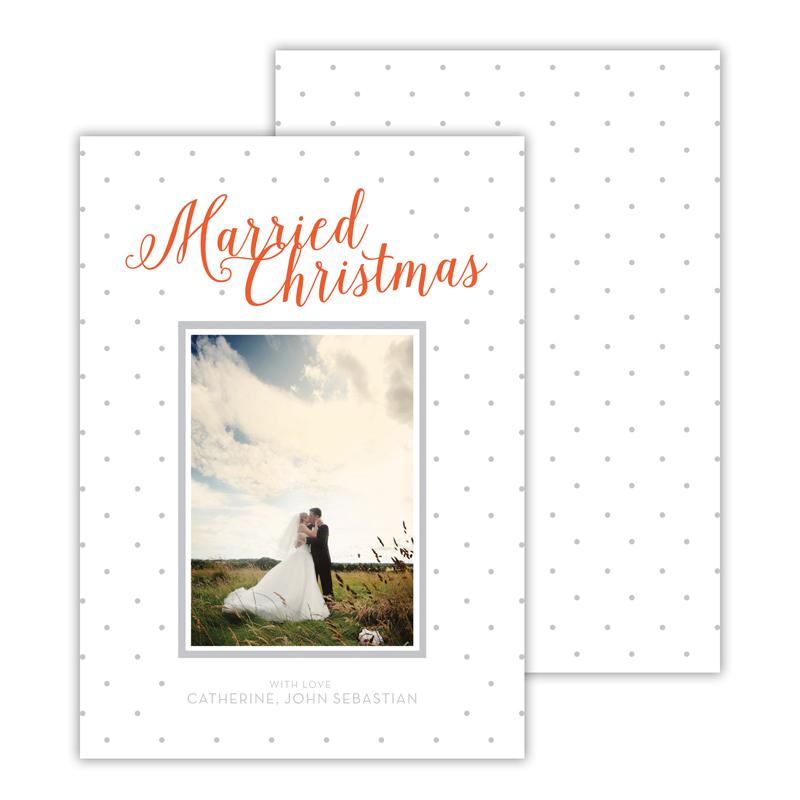 Married Light Grey Merry Christmas Photocard