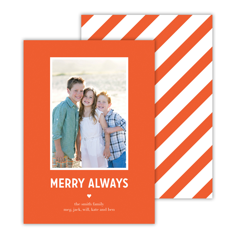 Merry Always Warm Red Christmas Photocard