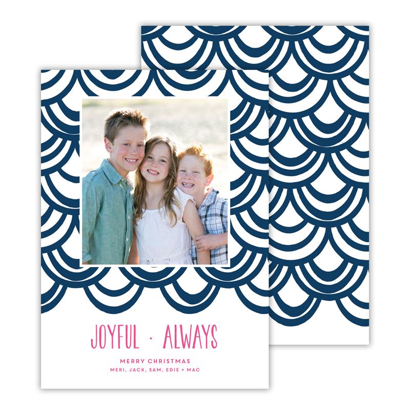 Joyful Always Navy Christmas Photocard