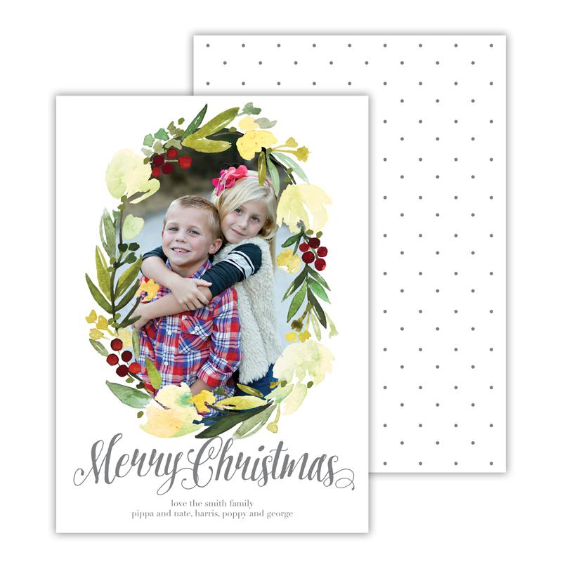 Floral Wreath Dark Grey Merry Christmas Photocard