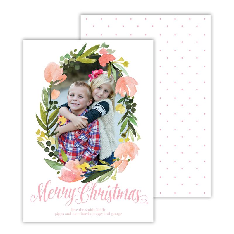 Floral Wreath Ballet Merry Christmas Photocard