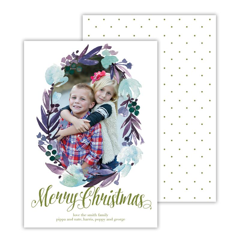 Floral Wreath Moss Merry Christmas Photocard