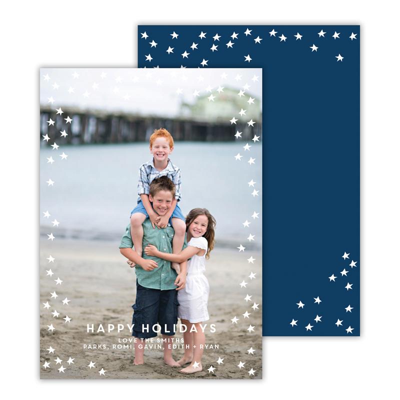 Starlight Navy Happy Holidays Photocard