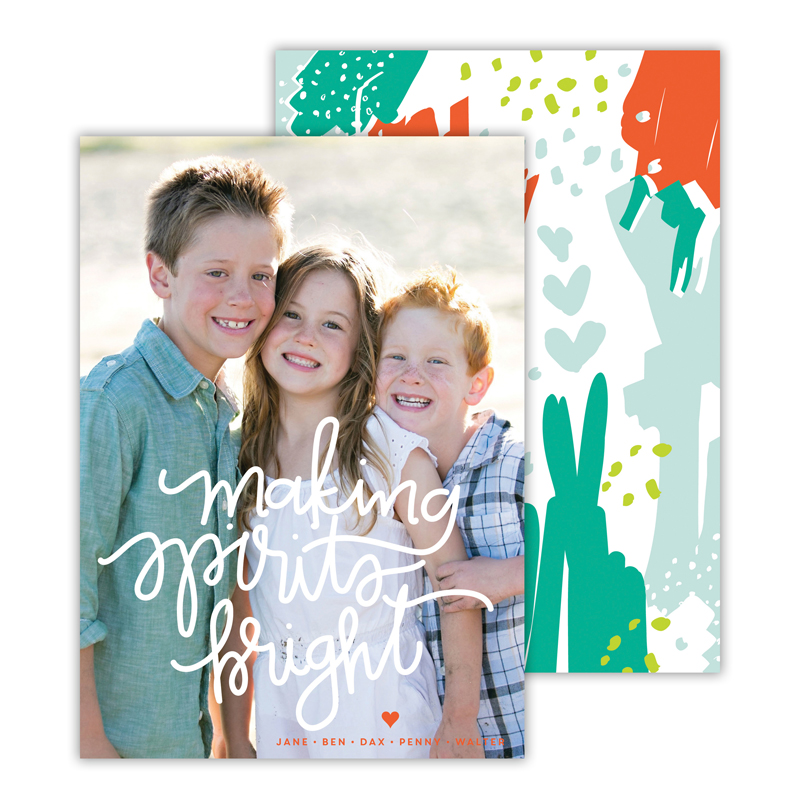 Making Spirits Bright Warm Red Christmas Photocard