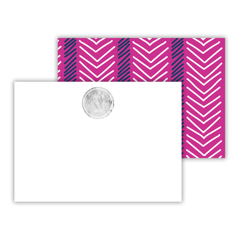 Topstitch Foil Personalized Mini Flat Card with Foil Accents (25 cards)