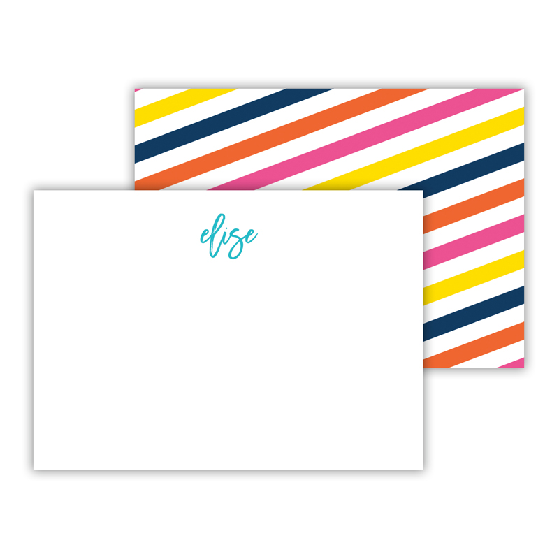Fruit Stripe Personalized Mini Flat Note Card (25 cards)