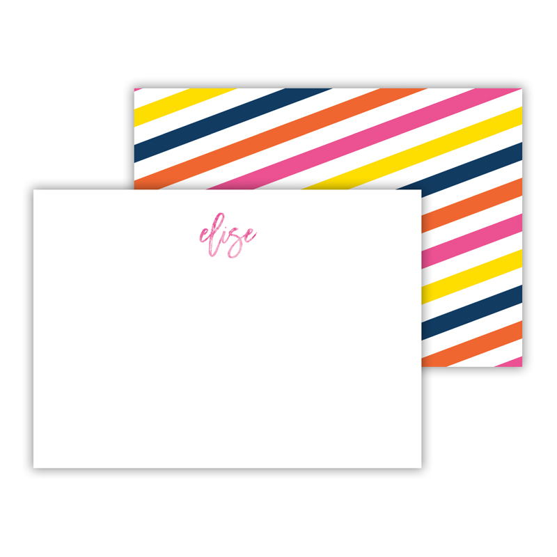 Fruit Stripe Foil Personalized Mini Flat Card with Foil Accents (25 cards)