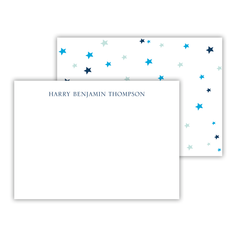 Stars Blue Personalized Mini Flat Notes
