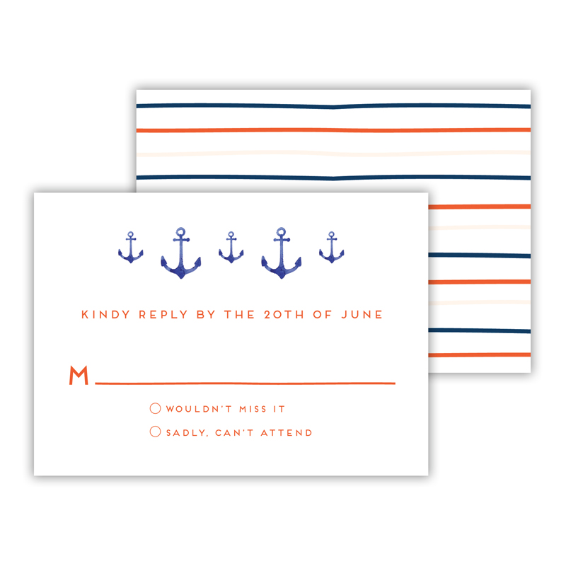 Anchors Aweigh 25 Personalized Response Cards
