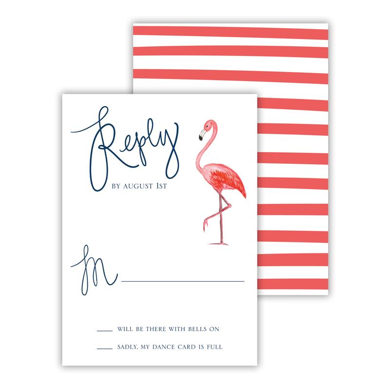 Flamingo-A-Go-Go 25 Personalized Response Cards