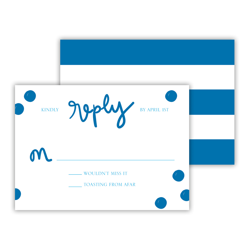 Festive Blue 25 Personalized Response Cards