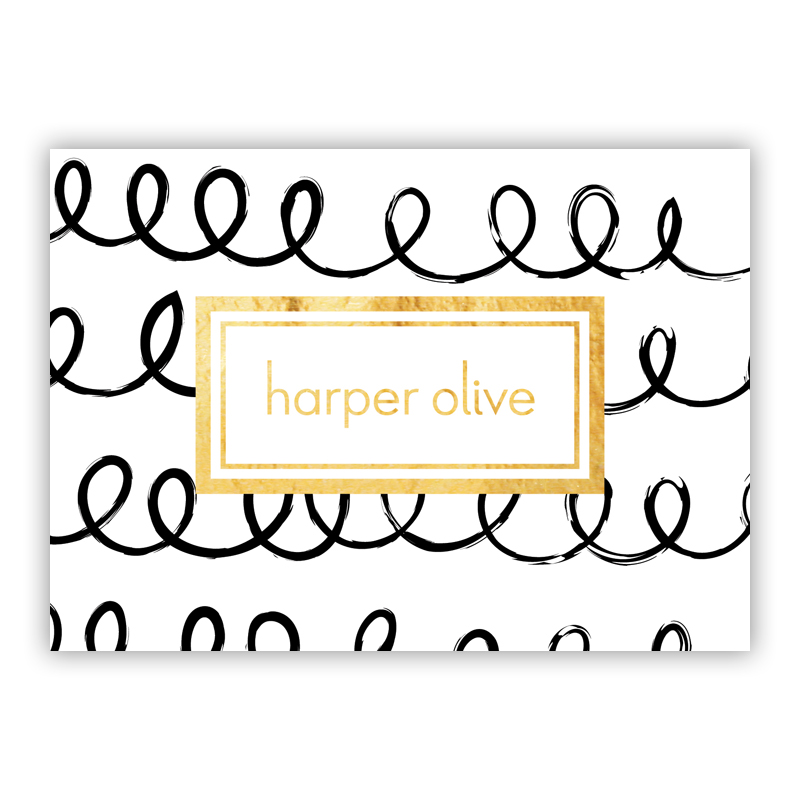 Weeeee Foil Personalized Mini Folded Note with Foil Accent (25 cards)